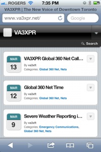 VA3XPR Mobile website iPhone iPod Touch Android BlackBerry Palm Toronto amateur radio repeater