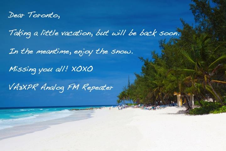 VA3XPR FM Repeater Analog Vacation Service Outage Toronto Amateur Radio Ham