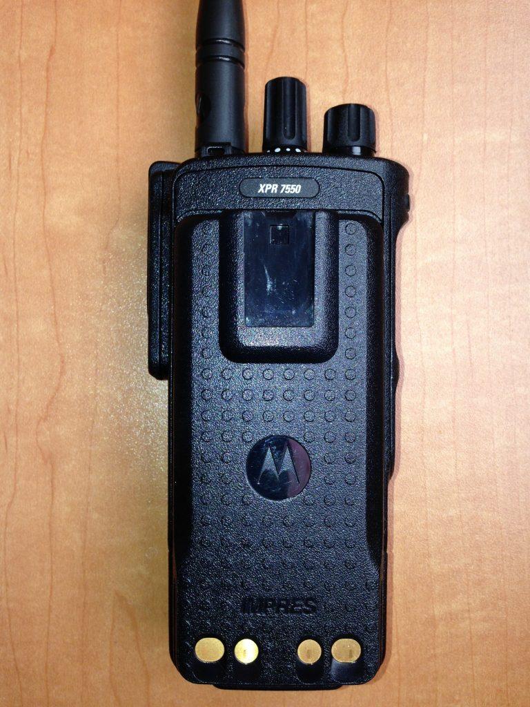 Motorola, MOTOTRBO, XPR7550, XPR 7550, portable, radio, amateur radio, ham radio, digital mobile radio, DMR, digital, battery, mobile, rear