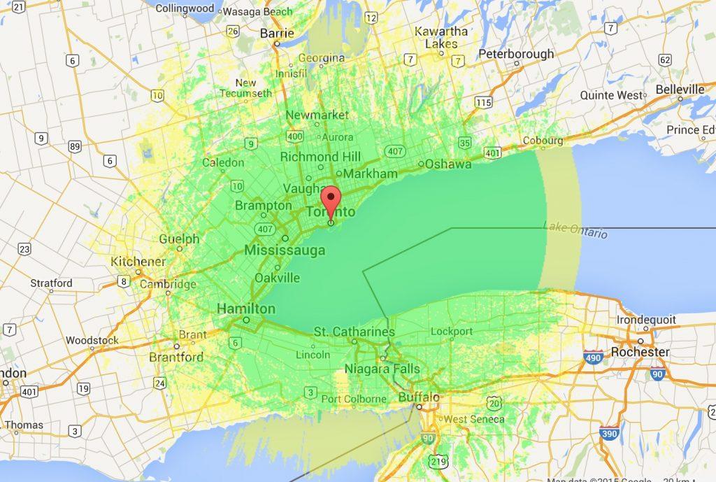 VA3XPR Coverage Area Toronto DMR ham radio repeater